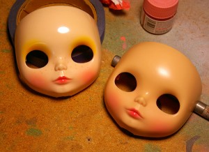 Airbrushing lips and cheeks